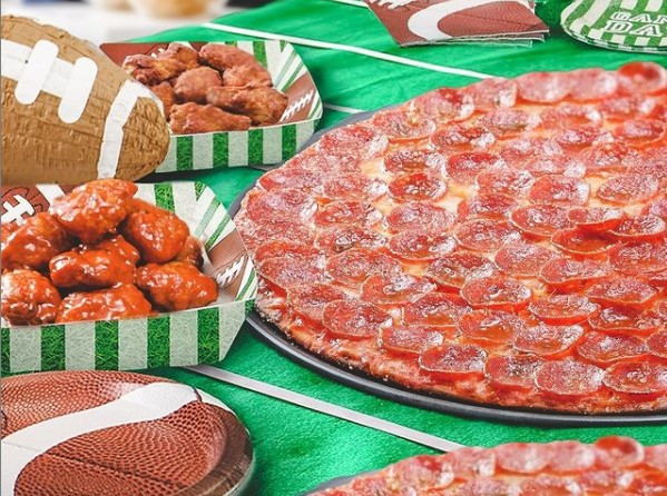 pizza and wings for Super Bowl Sunday