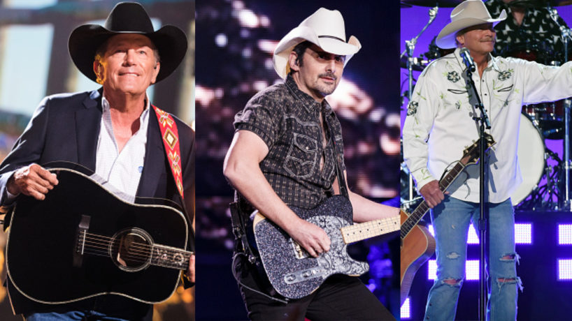 George Strait, Brad Paisley, and Alan Jackson all singing with guitars