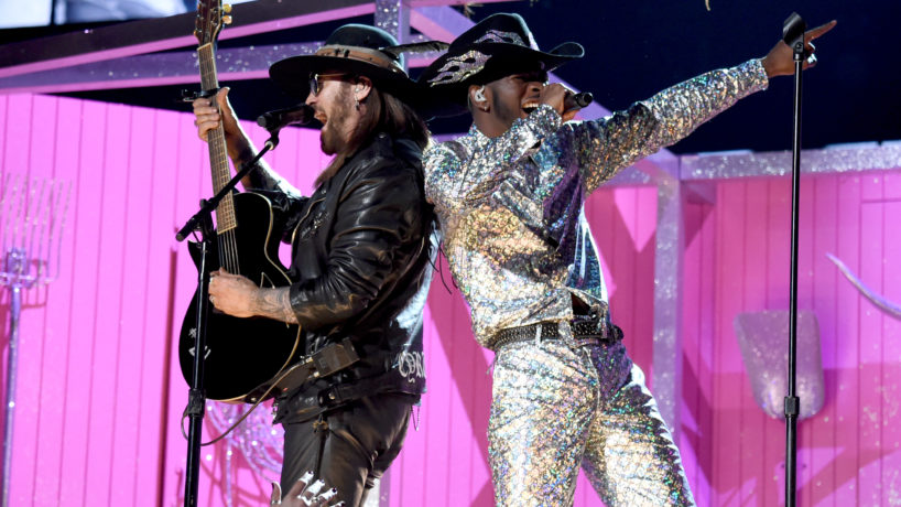 Lil Nas X and Billy Ray Cyrus singing on stage together