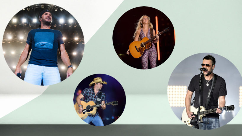 From left to right: country artists Luke Bryan, Jason Aldean, Maren Morris, and Eric Chrurch