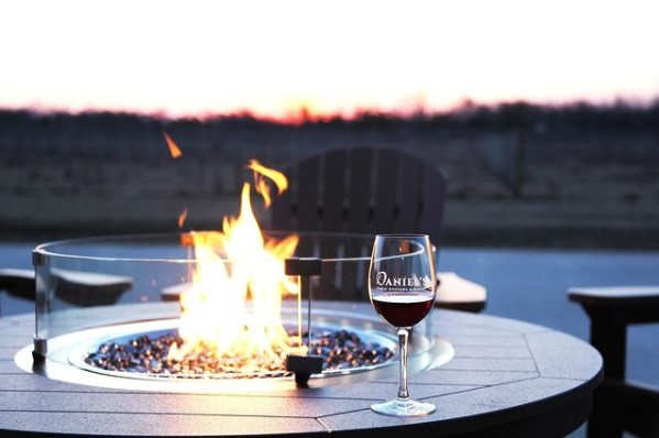 a glass of wine in front of a bonfire scene
