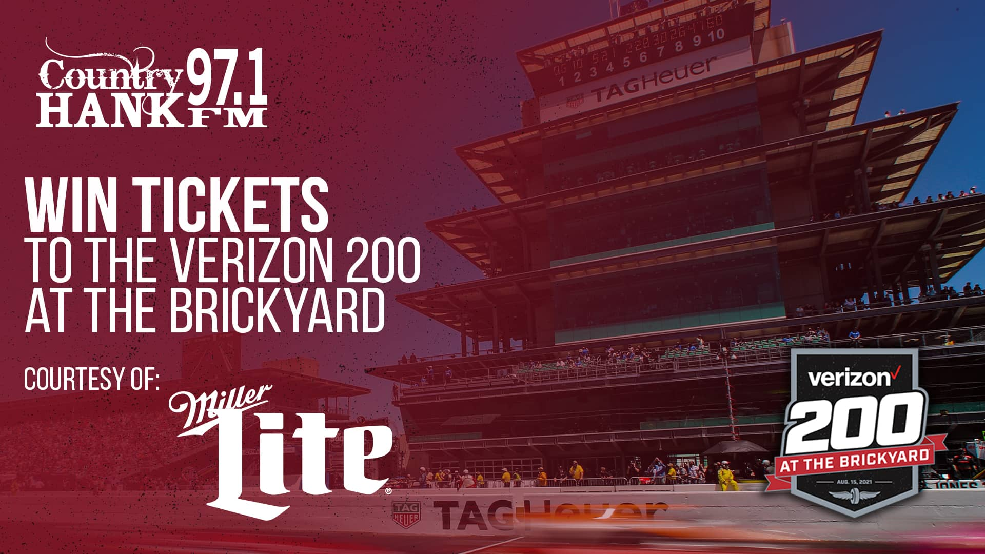 Pagoda win tickets to the verizon 200 at the brickyard courtesy of miller lite