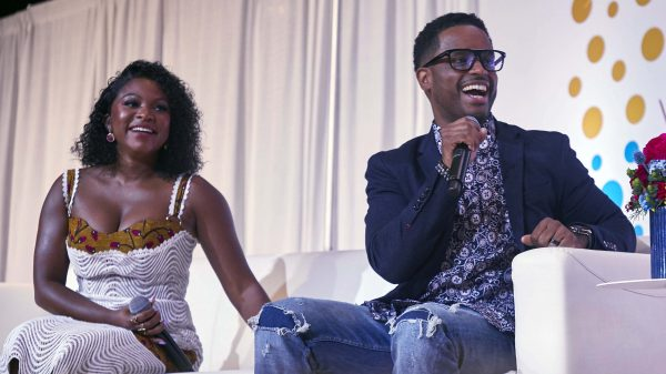 Naturi Maughton and Larenz Tate on stage at Circle Of Sisters Expo 2019