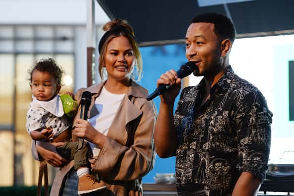 """Miles Stephens, Chrissy Teigen and John Legend attend the Impossible Foods Grocery Los Angeles Launch with """"Pepper Thai"""""""