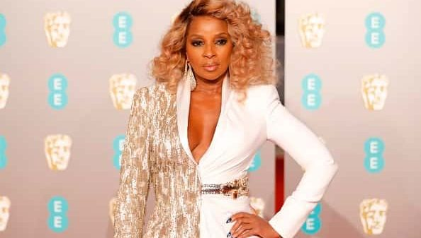 Mary J. Blige poses on the red carpet upon arrival at the BAFTA British Academy Film Awards in London.