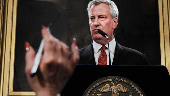 NEW YORK, NEW YORK - AUGUST 02: New York City Mayor Bill de Blasio speaks to the media following news that a judge has recommended that Daniel Pantaleo, the New York City police officer at the center of Eric Garner's July 2014 death case, should be fired from the police department on August 02, 2019 in New York City. It will now be up to the city's police commissioner whether Pantaleo will keep his job.