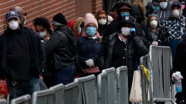 people in line nyc with masks on