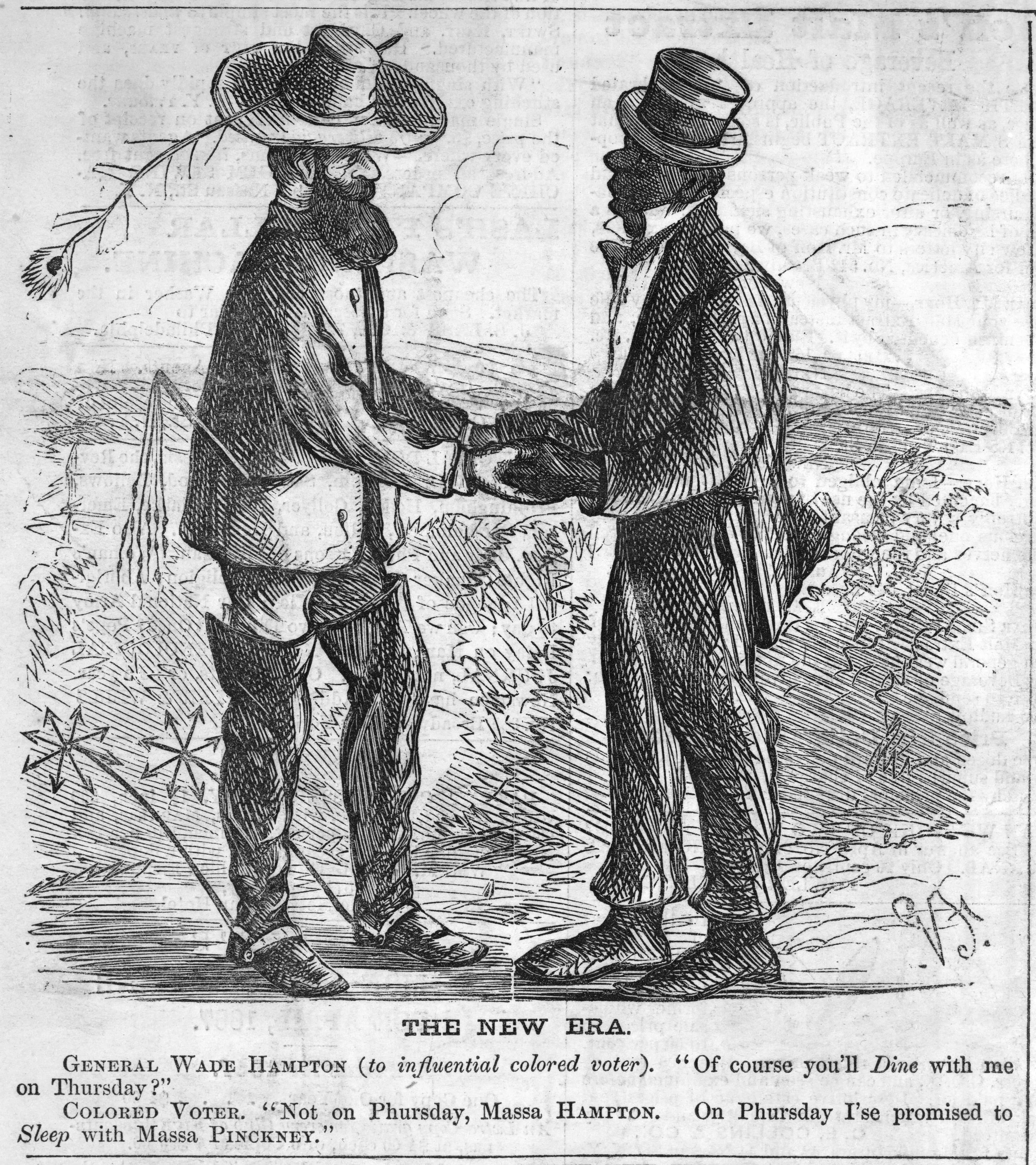 Cartoon of Slave Owner with a Former Slave