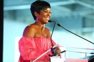 NEW YORK, NY - AUGUST 09: Tamron Hall speaks during the #BlogHer18 Creators Summit at Pier 17 on August 9, 2018 in New York City.