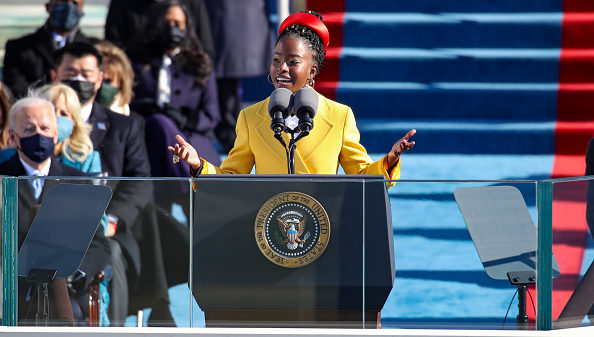 WASHINGTON, DC - JANUARY 20: Youth Poet Laureate Amanda Gorman speaks at the inauguration of U.S. President Joe Biden on the West Front of the U.S. Capitol on January 20, 2021 in Washington, DC. During today's inauguration ceremony Joe Biden becomes the 46th president of the United States.