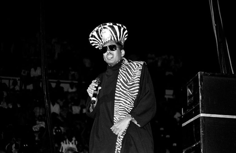 INDIANAPOLIS - JULY 1990: Rapper Shock G. of Digital Underground performs at Market Square Arena in Indianapolis, Indiana in July 1990.