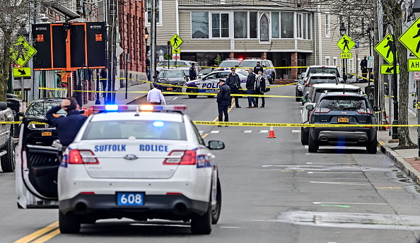 Port Jefferson, N.Y.: Suffolk County Police operate at the scene of a reported shooting on Main Street in Port Jefferson, New York on the afternoon of March 24, 2021.
