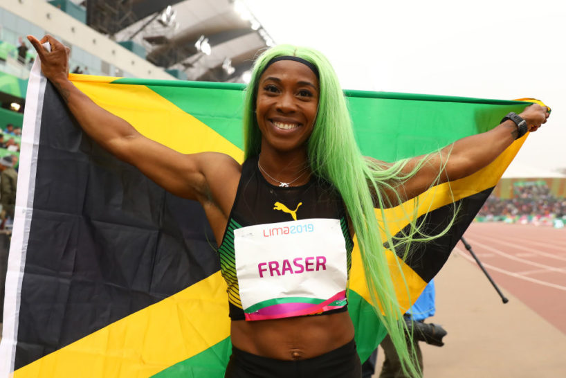 LIMA, PERU - AUGUST 09: Gold medalist Shelly-Ann Fraser-Pryce of Jamaica celebrates after Women's 200m Final on Day 14 of Lima 2019 Pan American Games at Athletics Stadium of Villa Deportiva Nacional on August 09, 2019 in Lima, Peru.