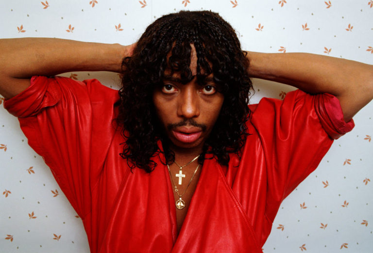 """WEST HOLLYWOOD, CA - 1987: """"Super Freak"""" funk and soul singer Rick James poses during a 1987 West Hollywood, California photo session. Plagued with a history of drug and alcohol abuse, James died of apparent natural causes in 2004."""