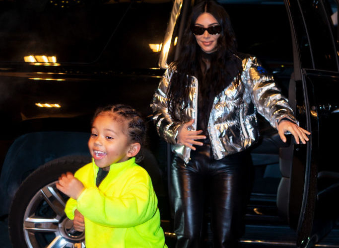 NEW YORK, NEW YORK - DECEMBER 21: Kim Kardashian and Saint West are seen in Midtown on December 21, 2019 in New York City.