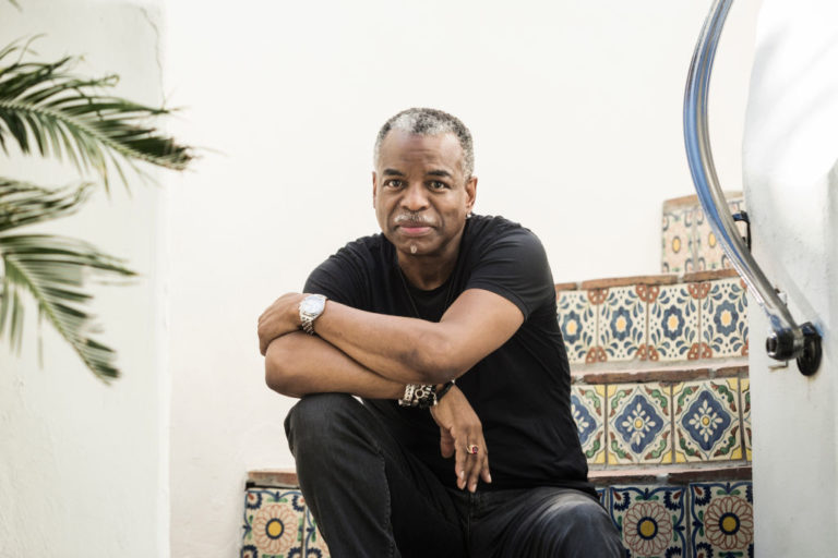 LOS ANGELES, CA - April 28, 2020: Actor, director and podcaster LeVar Burton poses for a portrait outside of his home on Tuesday afternoon.