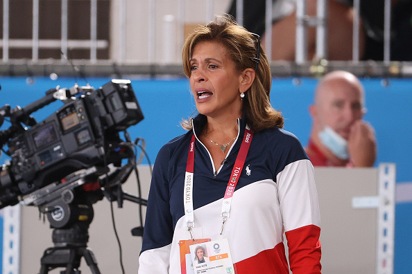Today Show Host Hoda Kotb yells support to Simone Biles after exiting the competition during the Women's team final on day four of the Tokyo 2020 Olympic Games at Ariake Gymnastics Centre on July 27, 2021 in Tokyo, Japan.