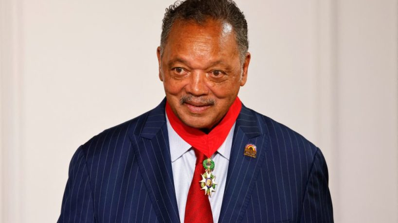 Veteran American civil rights activist Reverend Jesse Jackson looks after being awarded with the Legion of Honour by French President at the Elysee Palace in Paris on July 19, 2021.
