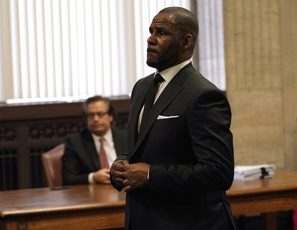 Singer R. Kelly appears in court for a hearing to request that he be allowed to travel to Dubai at the Leighton Criminal Court Building on March 22, 2019 in Chicago, Illinois. R. Kelly appeared before a judge to request permission to travel to Dubai to perform in concerts.