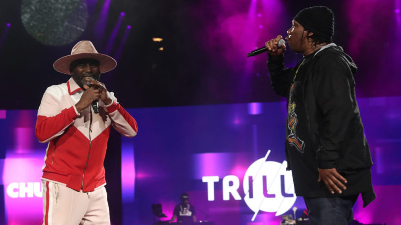 NEW YORK, NEW YORK - OCTOBER 17: Big Daddy Kane and KRS 1 perform during TrillerVerz at Barclays Center on October 17, 2021 in New York City.