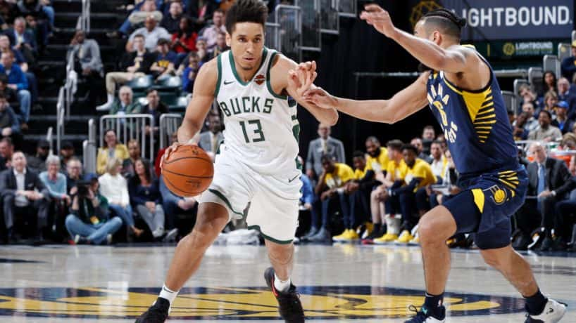 New Pacers guard Malcolm Brogdon drives against Indiana in a 2018-19 game at Bankers Life Fieldhouse.