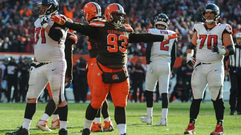 Former Browns defensive lineman Trevon Coley reacts after a play against the Texans.