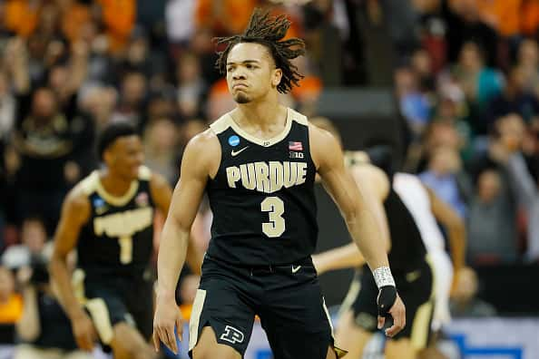 Carsen Edwards #3 of the Purdue Boilermakers reacts after a three pointer against the Tennessee Volunteers in the NCAAs.