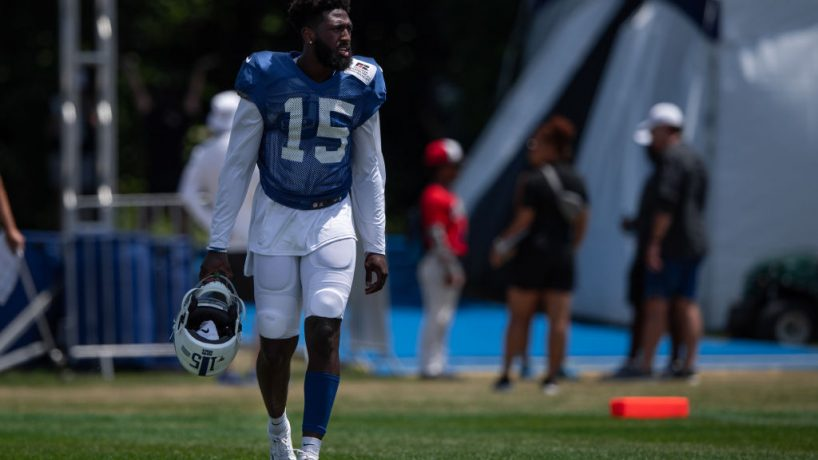 Colts wide receiver Parris Campbell watches practice in 2019 at Grand Park.