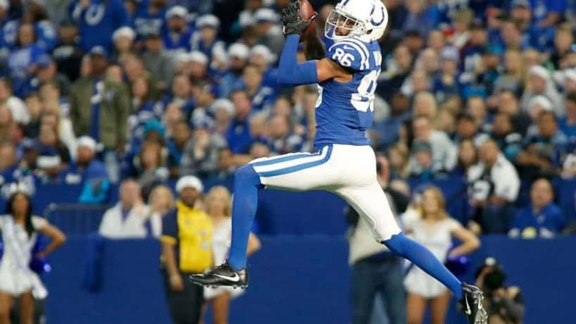 Colts wide receiver Dontrelle Inman catches a pass at home in the 2020 season.