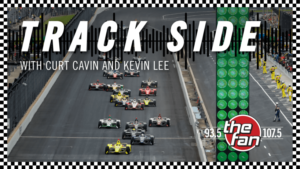 Trackside - a picture of indy cars coming down the straight away at the IMS