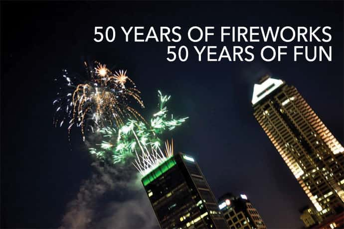 Fireworks light up the Indianapolis skyline on 4th of July.
