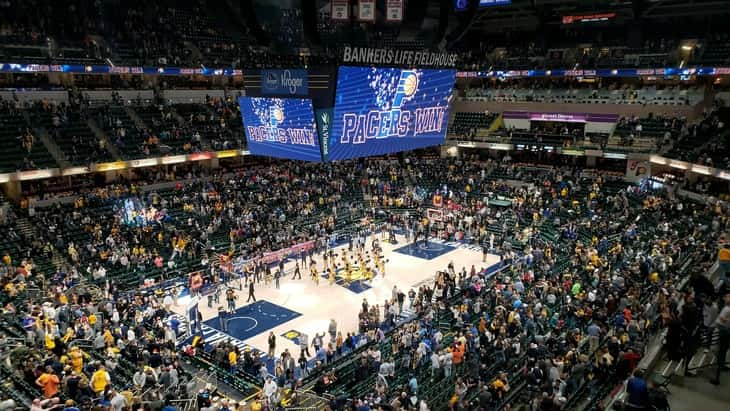 High rise view of a Pacers game inside of Bankers Life Fieldhouse