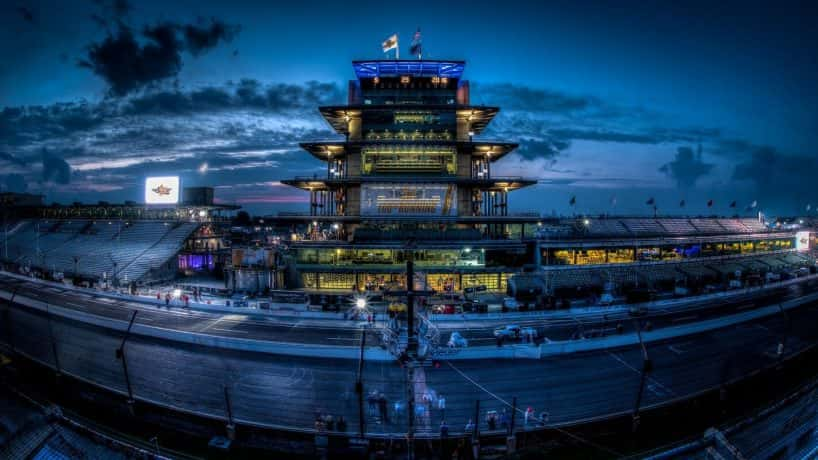 Portrait of the Indianapolis Motor Speedway and Finish Line at night