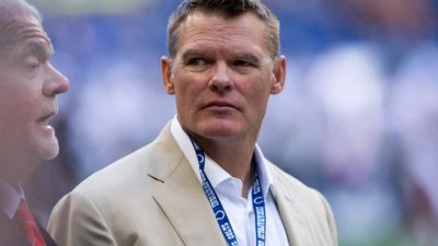 Indianapolis Colts general manager Chris Ballard on the field before the week 3 NFL preseason game