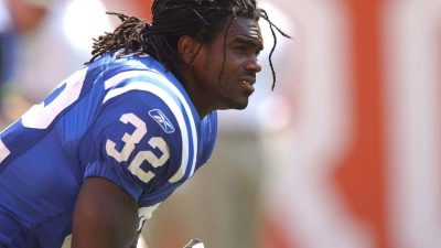 Edgerrin James #32 of the Indianapolis Colts warms up before a game against the Cleveland Browns