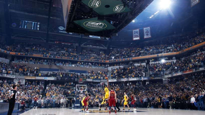 Pacers-Cavs on court at Bankers Life Fieldhouse