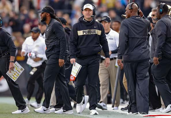 Head coach Jeff Brohm of the Purdue Boilermakers is seen during the game against the Iowa Hawkeyes.
