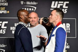 Kamaru Usman and Colby Covington face off at the weigh ins