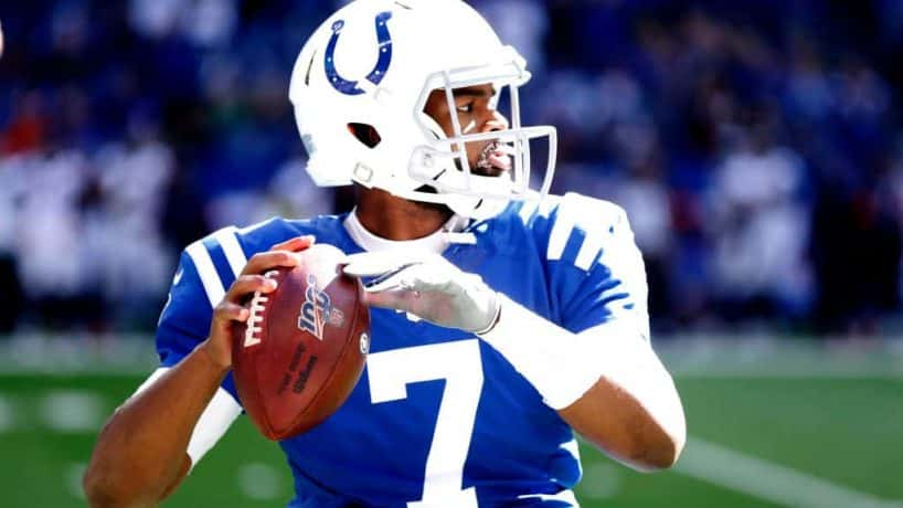 Colts quarterback Jacoby Brissett gets ready to throw in warmups during a 2019 game at Lucas Oil Stadium.
