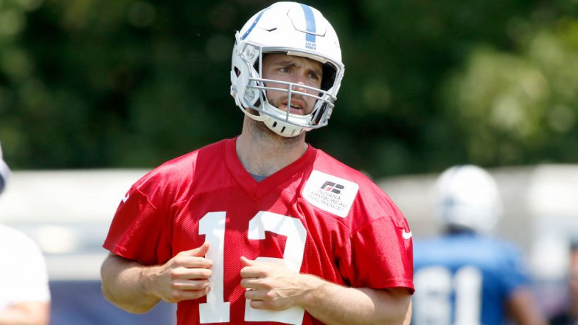 Colts quarterback Andrew Luck gets ready for a 2019 Training Camp practice at Grand Park.