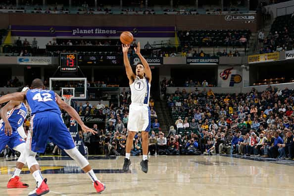 Pacers guard Malcolm Brogdon shoots in a 2020 win over the 76ers.