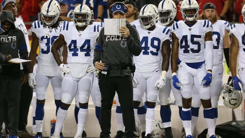 Colts defensive coordinator Matt Eberflus looks at his play sheet during a 2019 game against the Chiefs.