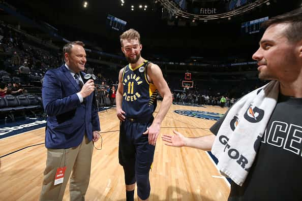 Pacers forward Domantas Sabonis gets interviewed after a win in Minnesota in January 2020.