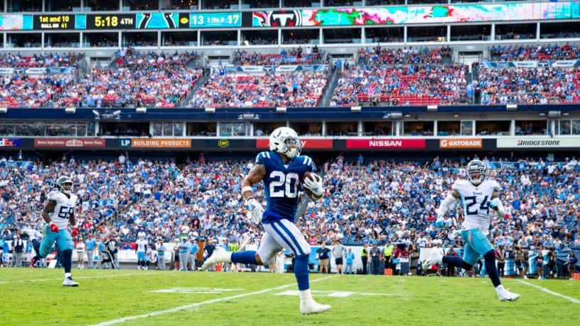 Colts running backs Jordan Wilkins runs in the open field in a 2019 win over the Titans.