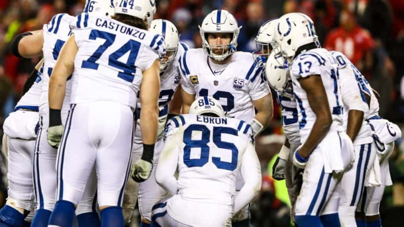 The Colts offense huddles up during a 2019 game in Kansas City.