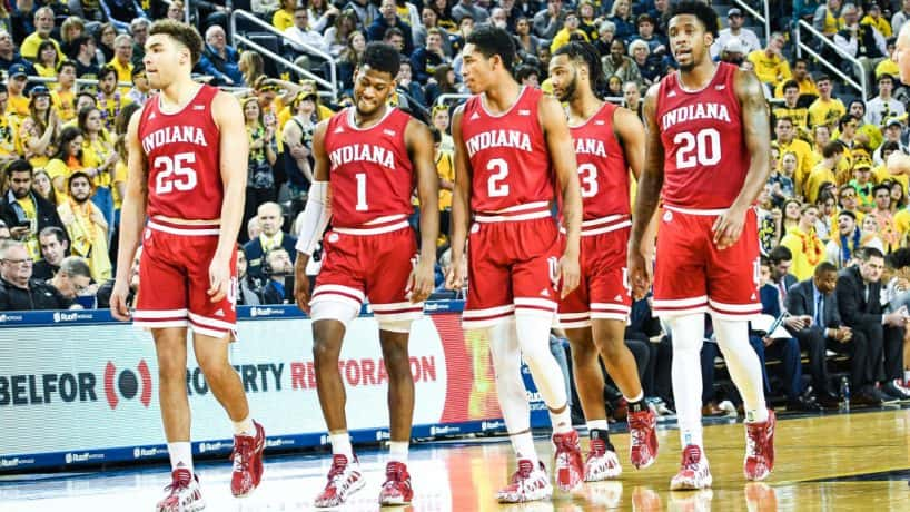 The Indiana Hoosiers walk back to the defensive end during the Michigan Wolverines game