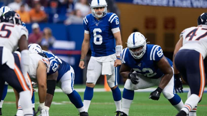 Colts quarterback Chad Kelly gets ready for a snap during the 2019 preseason.