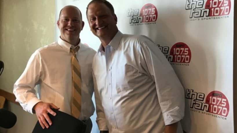 Purdue head football coach Jeff Brohm in studio with host Dan Dakich.