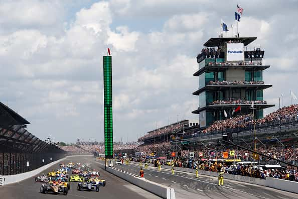 James Hinchcliffe of Canada, driver of the #5 ARROW Schmidt Peterson Motorsports Chevrolet, leads the field at the Indy 500