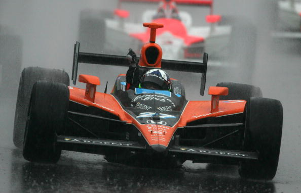 Dario Franchitti driver of the #27 Canadian Club Andretti Green Racing Dallara Honda drives after winning the Indy 500.